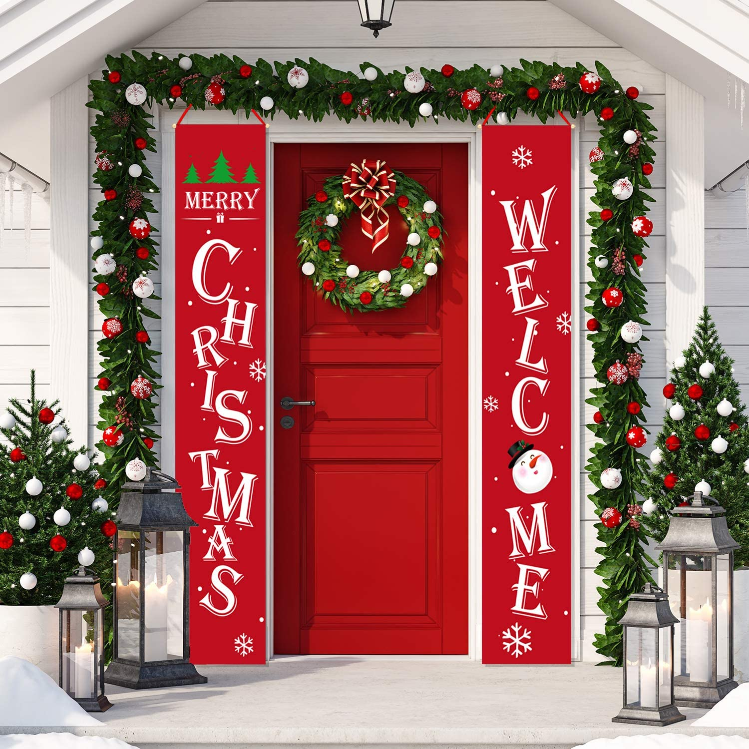 Whaline Christmas Porch Sign, Red Welcome and Merry Christmas Hanging Sign for Xmas Decoration Holiday Home Indoor Outdoor Porch Wall