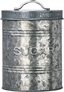 Amici Home, , Rustic Kitchen Collection Sugar Galvanized Metal Storage Canister, Food Safe, Push Top Lid, 76 Ounces