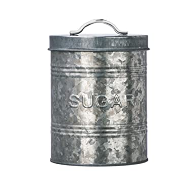 Amici Home, A7CJ008R, Rustic Kitchen Collection Sugar Galvanized Metal Storage Canister, Food Safe, Push Top Lid, 76 Ounces