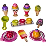 Wooden Ice Cream Toy - Pretend Ice Cream Set - Ice Cream Set for Kids – By Dragon Drew (25 PC Set)