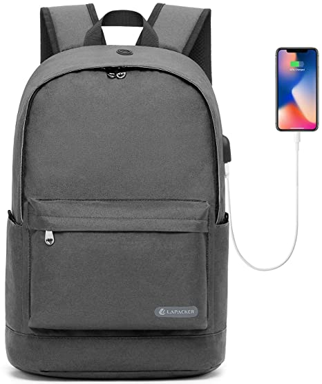 2e714bb2e3bb 17 Inch Slim Laptop Backpack Lightweight College School Computer Backpacks  Anti Theft Casual Daypack Canvas Bag with USB Charging Port for ...