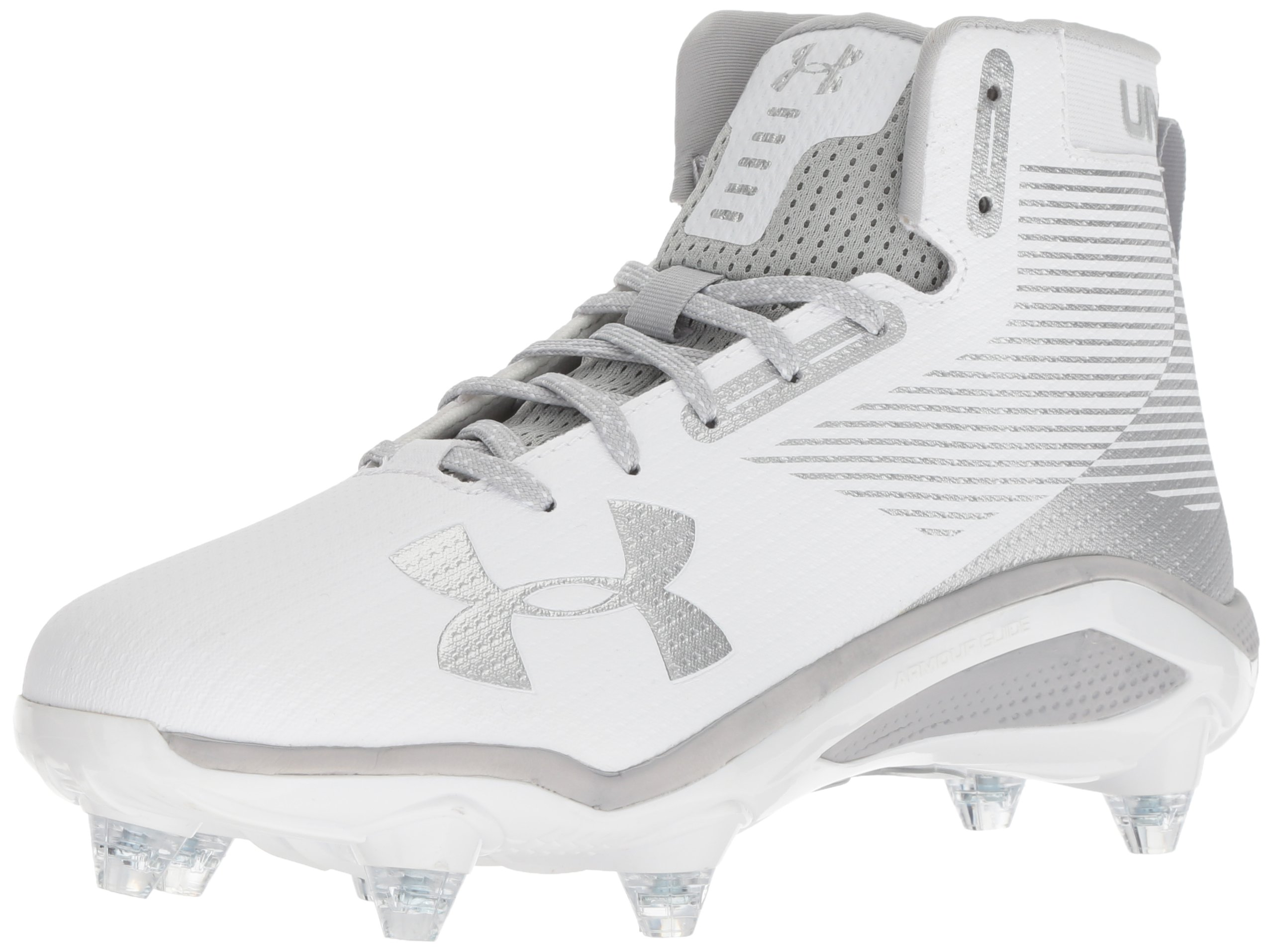 Under Armour Men's Hammer Detachable Football Shoe, White (102)/Metallic Silver, 11.5 by Under Armour