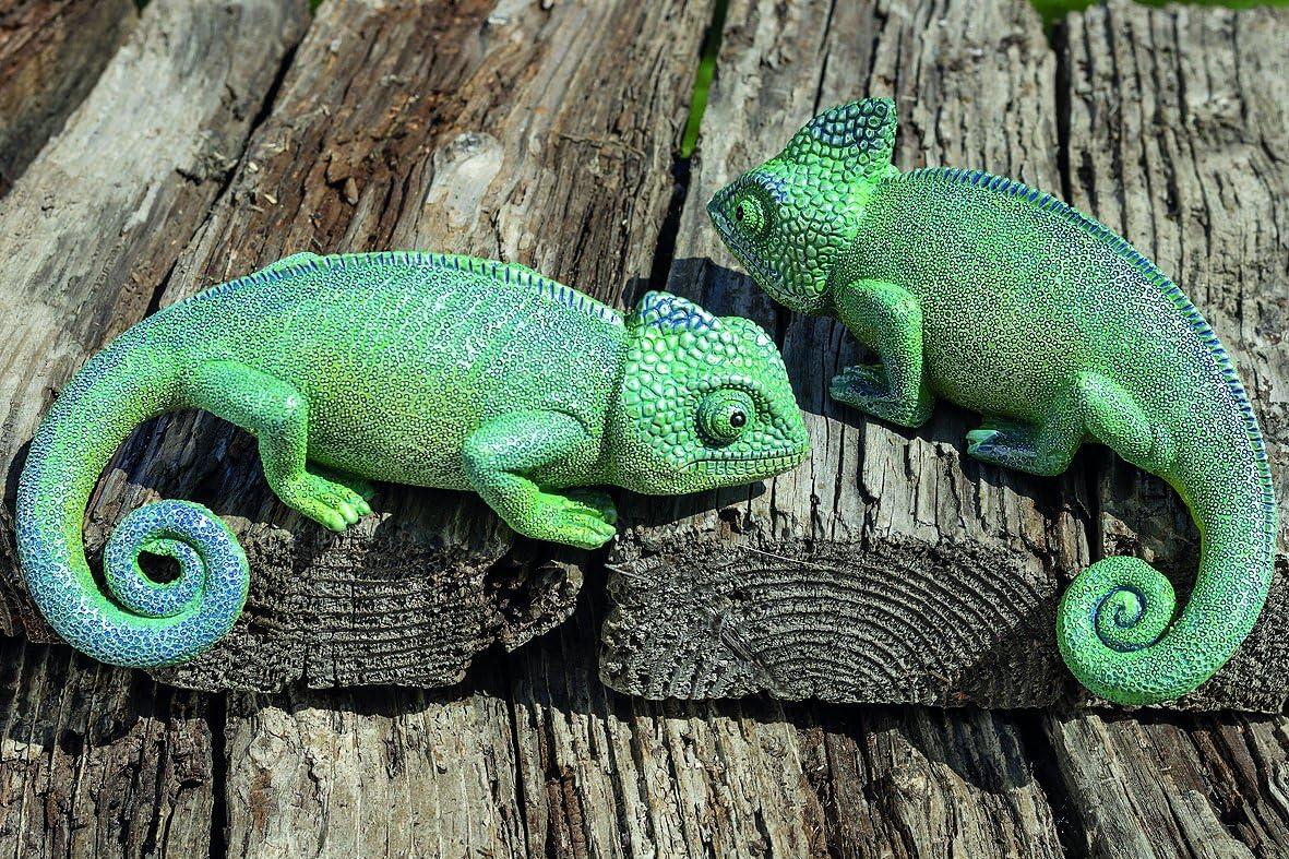 Juego de 2 Camaleones Figuras Decorativas de Jardín Exteriores de Resina Sintética En Verde 16cm: Amazon.es: Juguetes y juegos