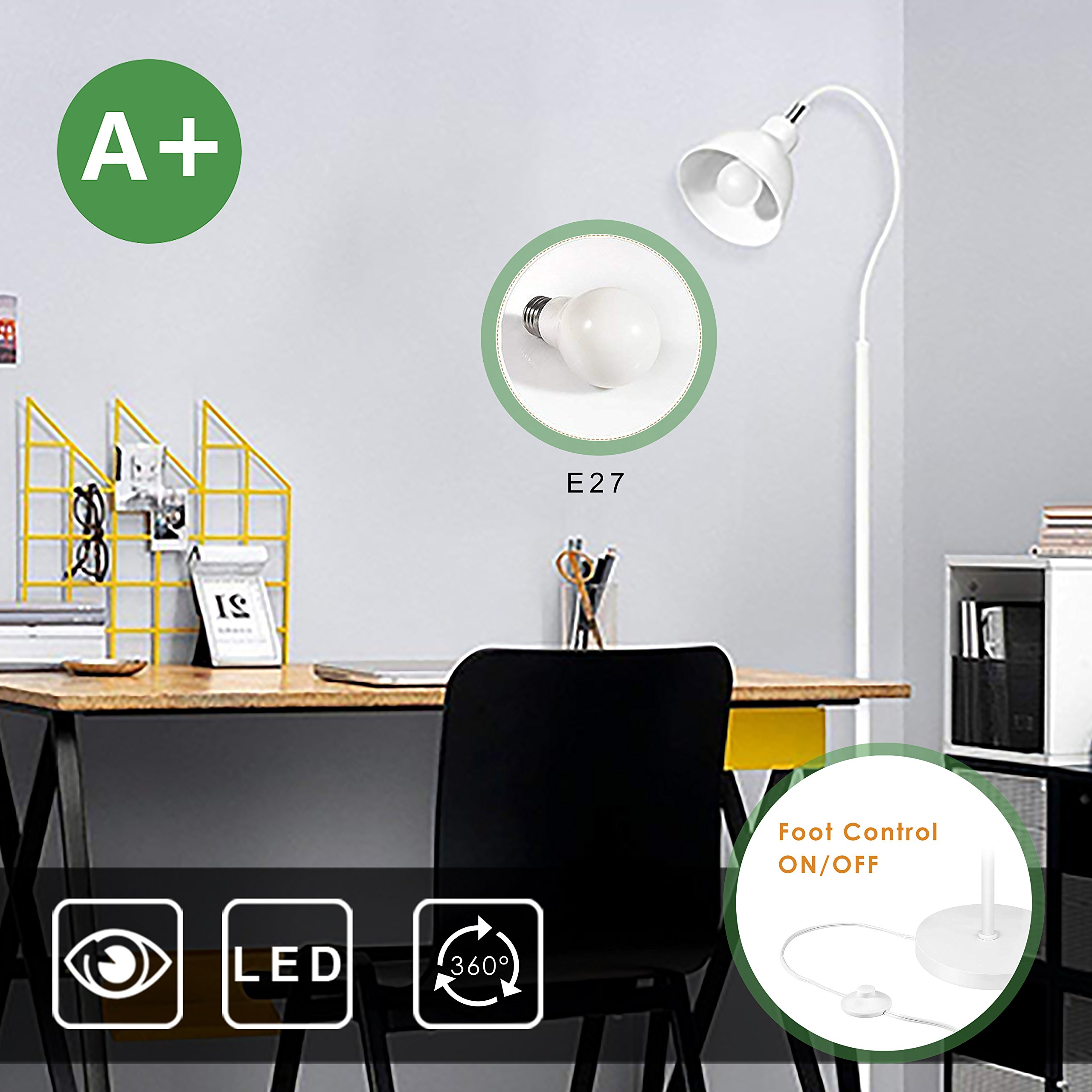 Aglaia LED Floor Lamp, Warm White Light with Adjustable Lamp Head and Foot Control on/off Switch Modern Design in White Color for Studio, Living Room or Bedroom(bulb included)