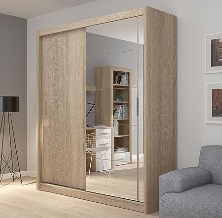 Armoire A 2 Portes Coulissantes Grand Miroir 180 Cm De Large