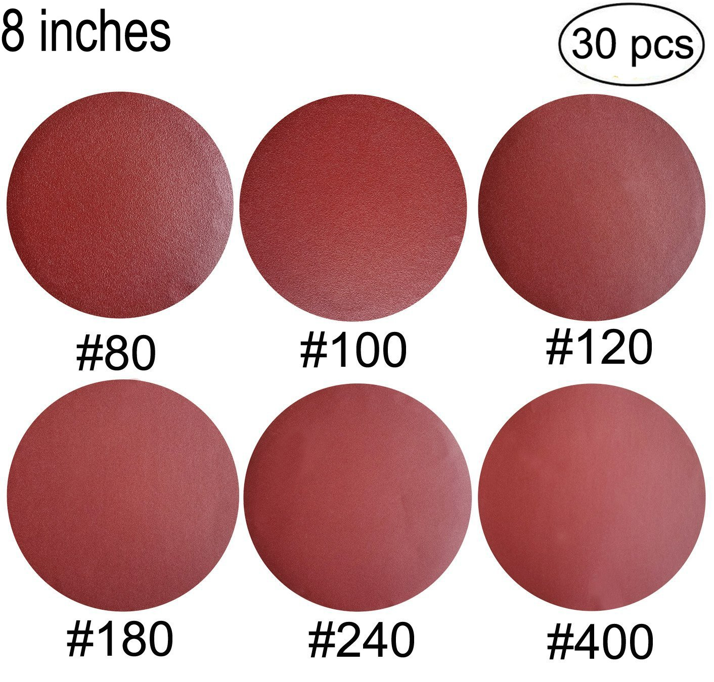 30 PCS 8-Inch NO-Hole PSA Aluminum Oxide Sanding Disc, Self Stick(5 Each of 80 100 120 180 240 400) by SINYUM