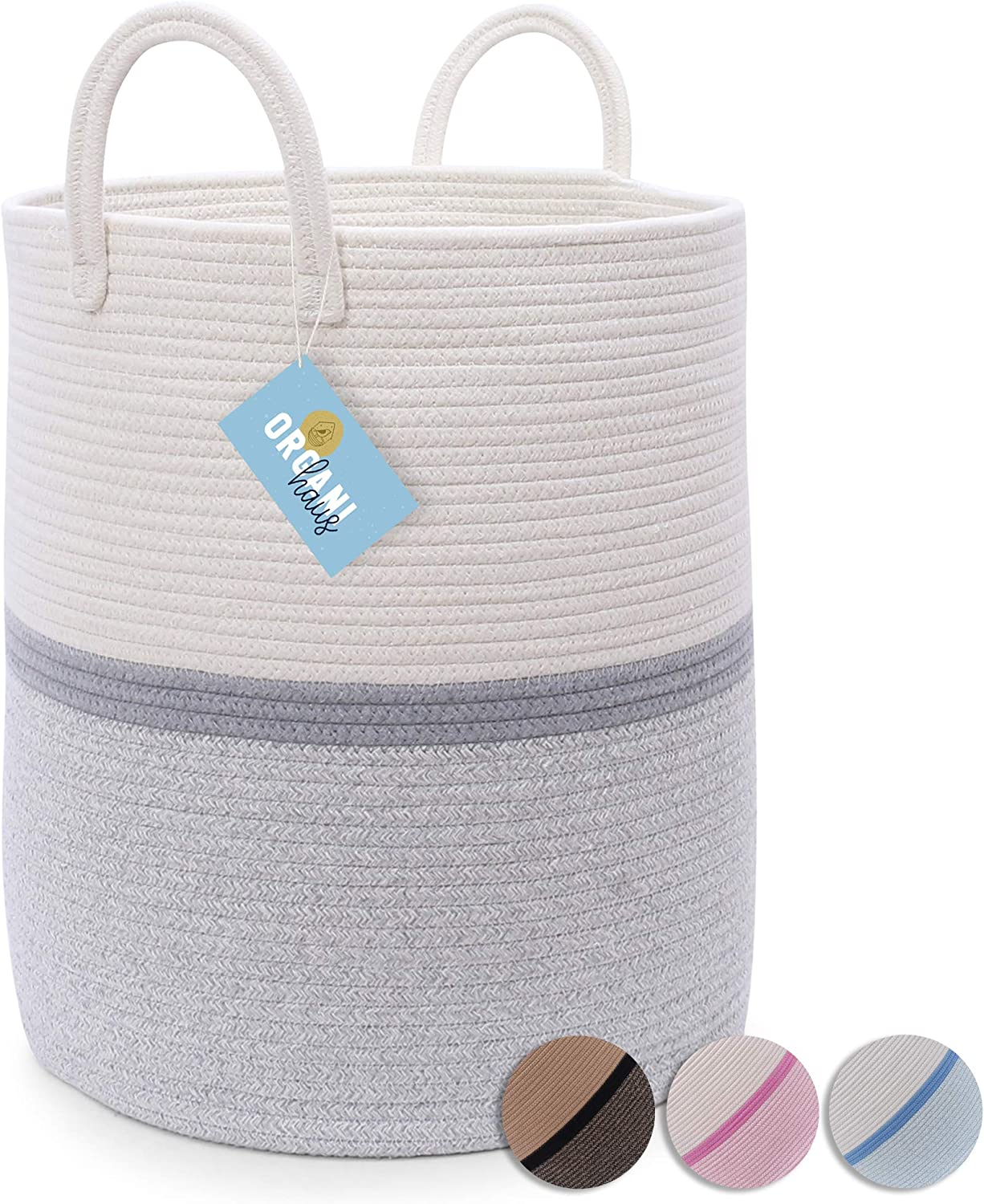 """OrganiHaus Large Grey Nursery Basket of Natural Cotton Rope Woven with Multiple Blended Colors 