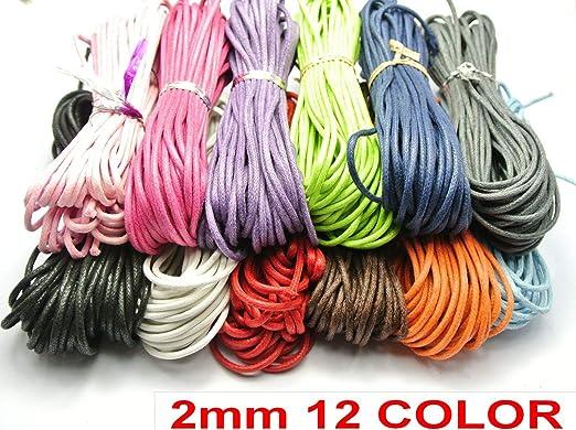 Cordón de algodón Encerado de 120 Metros de Color Mixto, 2 mm, 12 ...