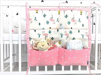 Babybett Organizer Flamingo Utensilo Tasche Aufbewahrung Rosa Deko