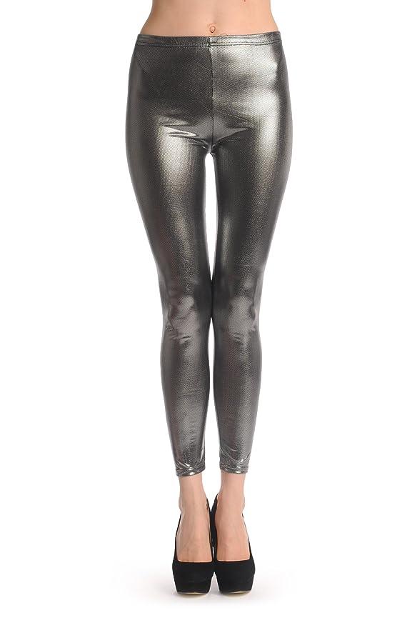 afbc8a61d9594 LissKiss Shiny Silver Dots - Silver Leggings at Amazon Women's Clothing  store: Leggings Pants