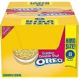 OREO Double Stuf Golden Sandwich Cookies, Vanilla Flavor, 10 King Size Snack Packs