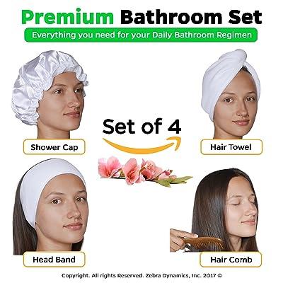 4in1 Premium Bathroom Set – Shower Cap, Hair Turban, Face Washing Elastic Hair Headband, Detangling Sandalwood Hair Comb.