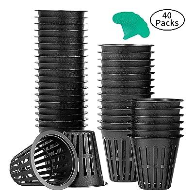 VIVOSUN 40 Pack 2 Inch Net Pots Heavy Duty Net Cups with 12 Pcs Plant Labels: Garden & Outdoor