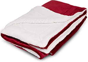 BIRDROCK HOME Internet's Best Plush Reversible Sherpa Throw Blankets - Burgundy (Red) - Ultra Soft Couch Blanket - Light Weight Sofa Throw - 100% Microfiber Polyester - Easy Travel - Bed - 50 x 60