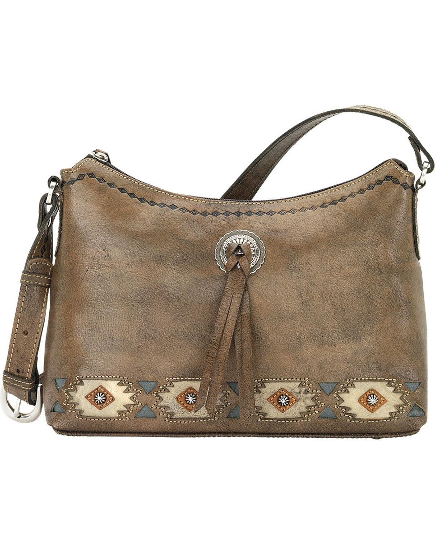 American West Native Sun Zip Top Shoulder Bag, Distressed Charcoal Brown