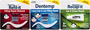 Dentemp Repair Kit containing: Maximum Strength Dental Cement, Refilit Lost Filling Repair, Recap-It Loose Caps, 1 Kit (Packaging May Vary)