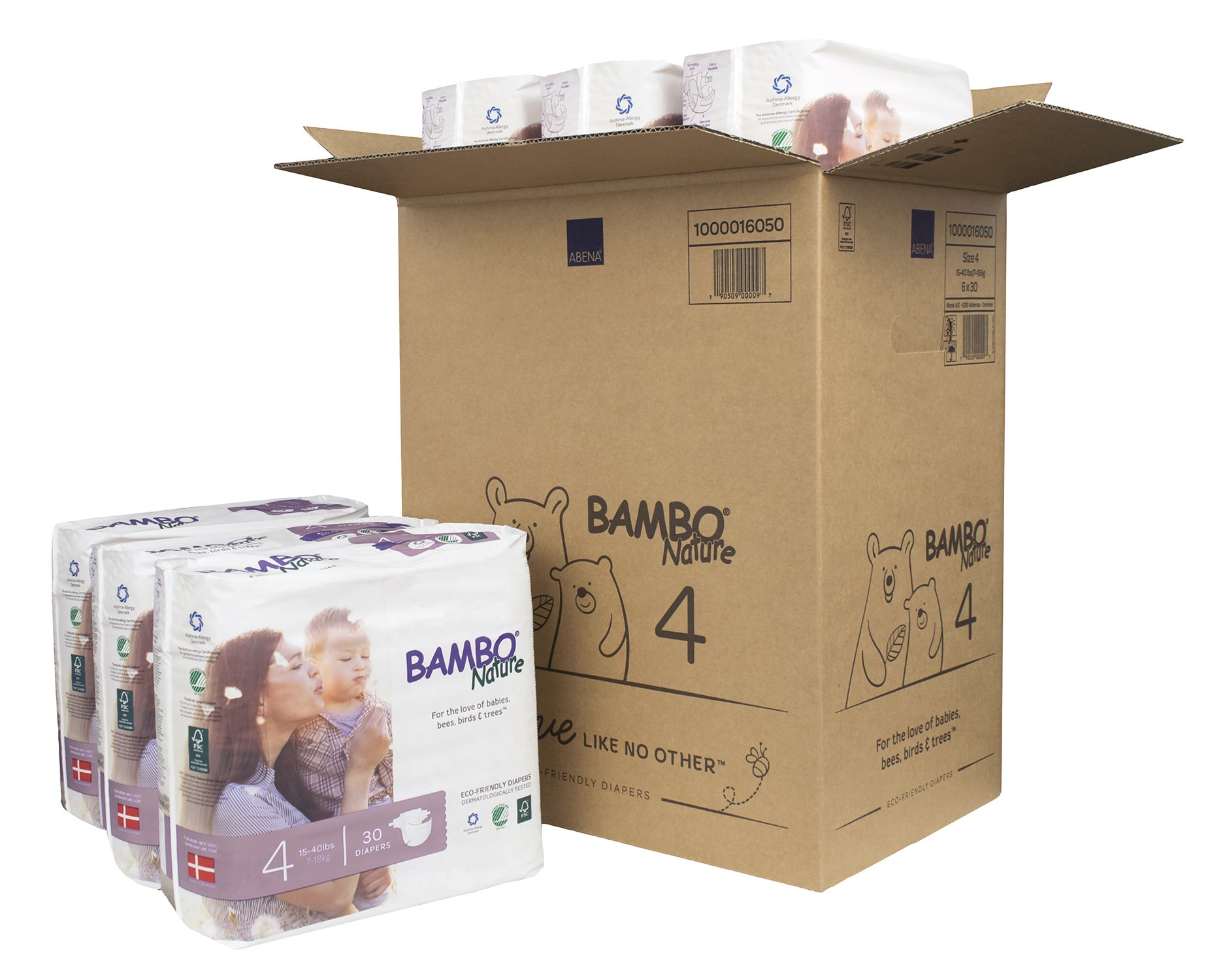 Bambo Nature Eco Friendly Premium Baby Diapers for Sensitive Skin, Size 4 (15-40 lbs), 180 Count (6 Packs of 30) by Bambo Nature