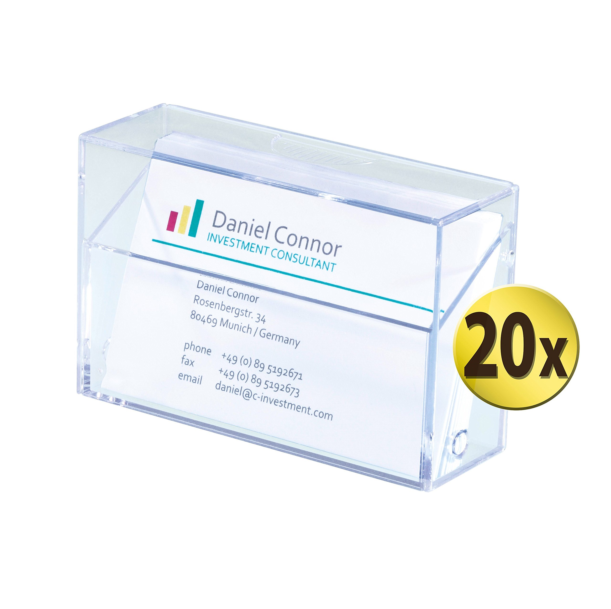 Sigel GmbH VA110/20 Business Card Box for 100 Cards 86 x 56 mm Crystal Clear by Sigel