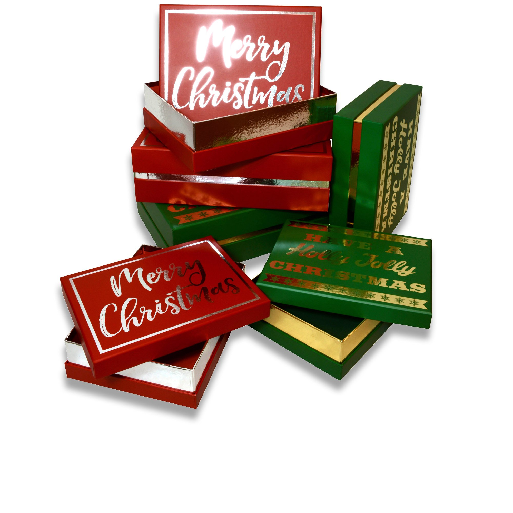Amazon.com: Christmas gift boxes, 3 count nested, flip top lid with ...