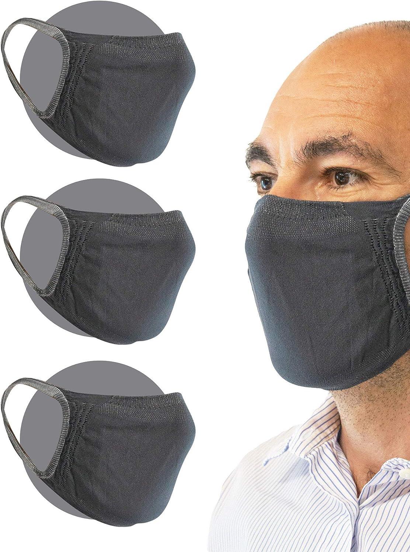 Relaxsan Mund Filterb/änder f/ürs Gesicht Satz 3 STK. Nase Grau aus wiederverwendbarem waschbarem absorbierendem bakteriostatischem Gewebe