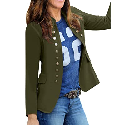 GRAPENT Women's Business Casual Buttons Pockets Open Front Blazer Suit Cardigan at Women's Clothing store