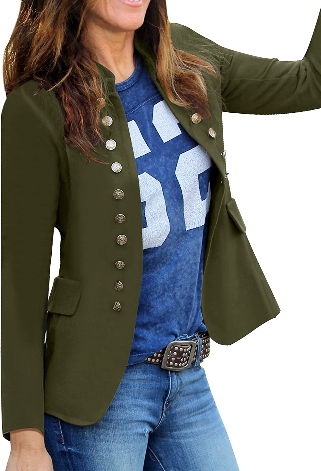 GRAPENT Womens Business Casual Buttons Pockets Open Front Blazer Suit Cardigan
