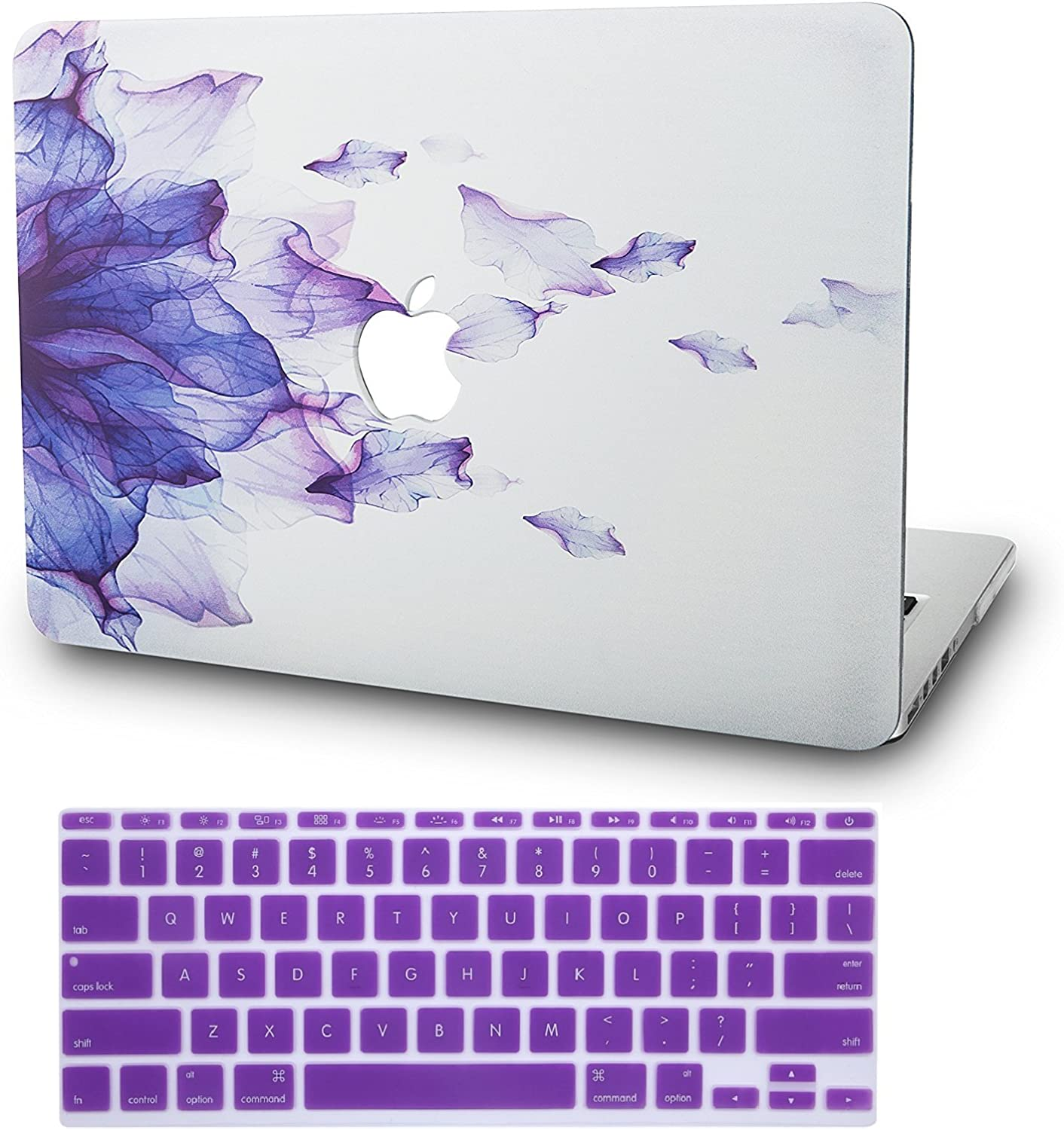 "KECC Laptop Case for MacBook Air 11"" w/Keyboard Cover Plastic Hard Shell Case A1465/A1370 2 in 1 Bundle (Purple Flower)"