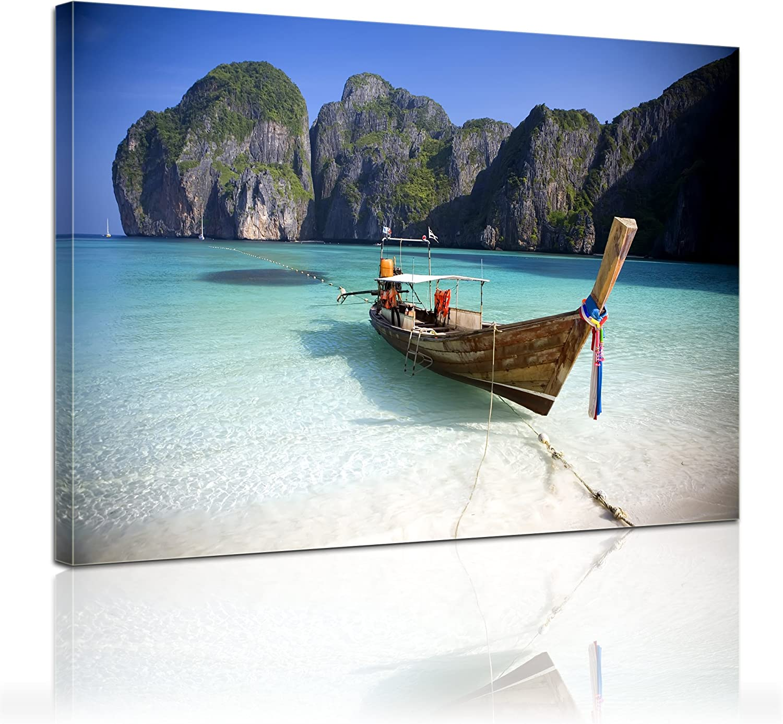 Bilderdepot24 Bastidor Imagen - Cuadros en Lienzo Tailandia (Barco) 90x60cm 3 Partes. - Made in Germany!: Amazon.es: Hogar
