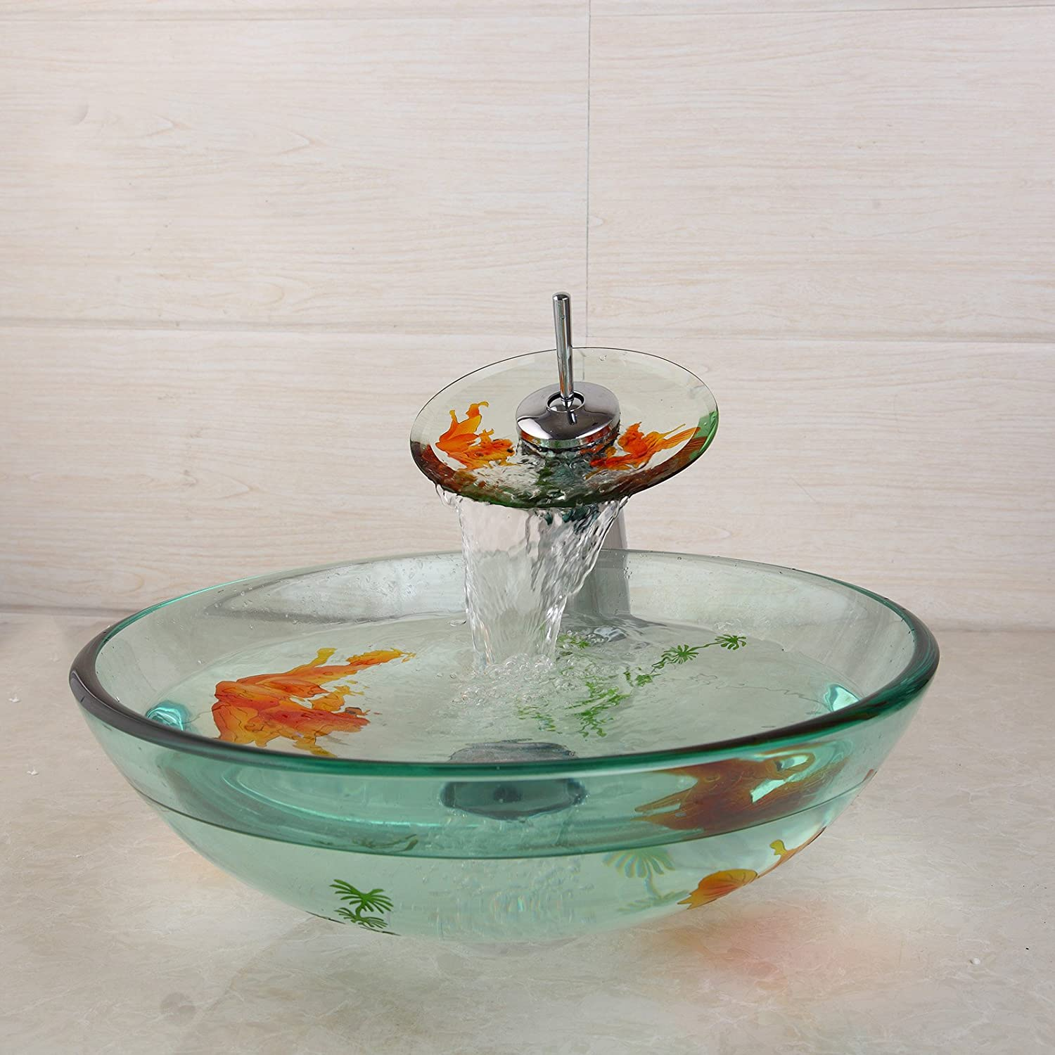Bathroom Vessel Sinks With Waterfall Faucet Combo Goldfish And Grass Sculpture And Painting Round Basin