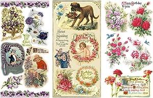 "Decoupage Paper Pack (12 Sheets A4 / 8""x11"") Happy Birthday Flowers FLONZ Vintage Ephemera"