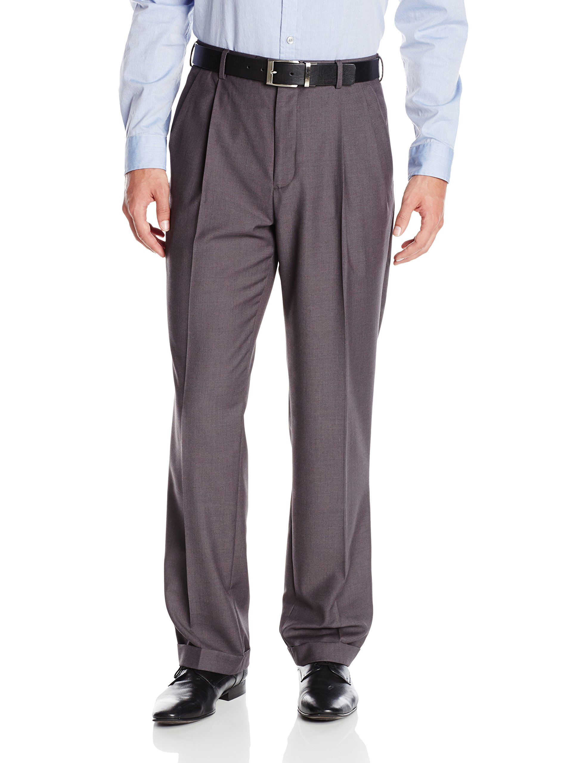 Louis Raphael Men's Straight Fit Pleated Suit Seperate Pant, Smoke, 36x30