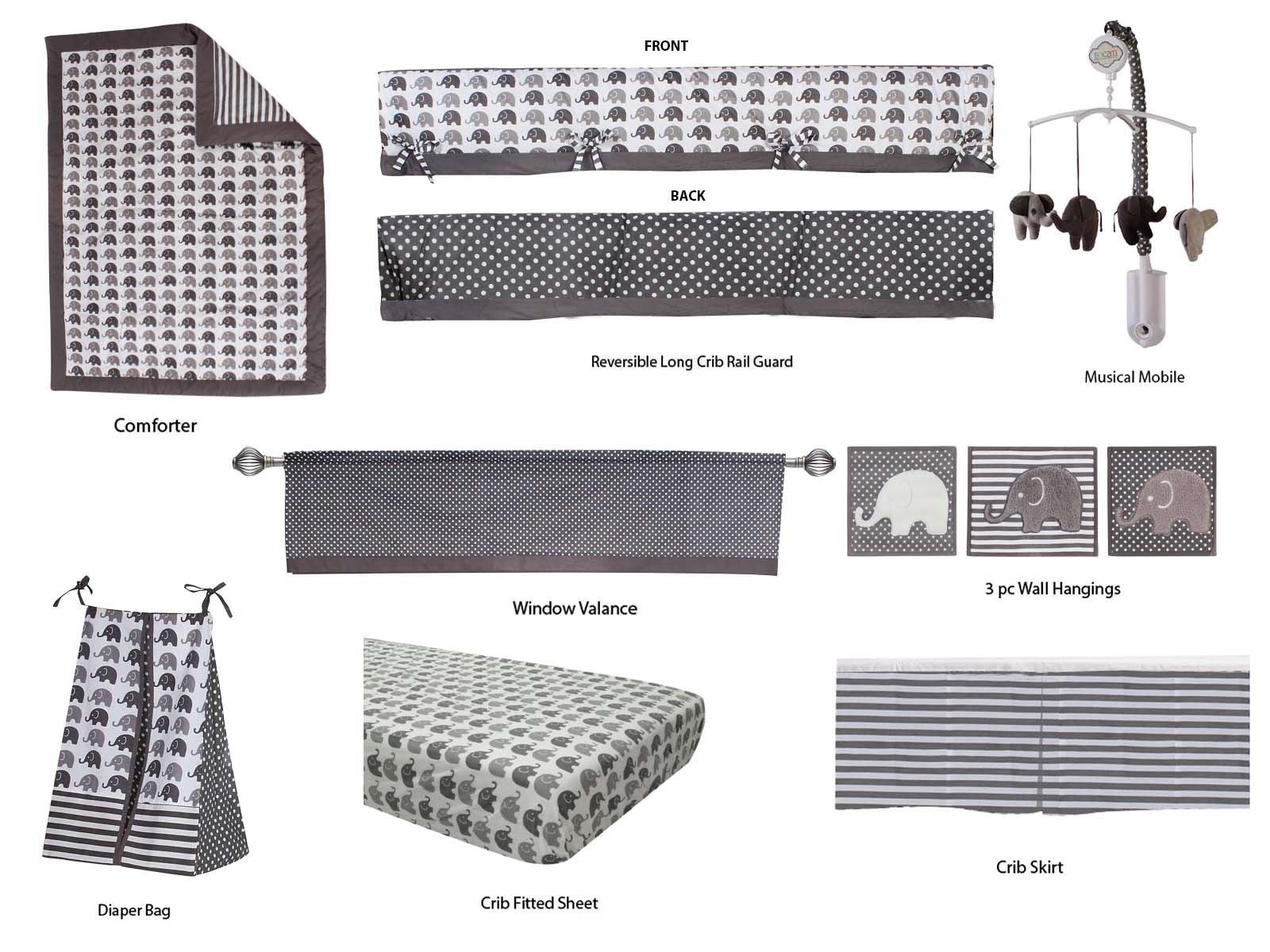 Bacati Elephants Unisex 10 Piece Nursery-in-A-Bag Crib Bedding Set with Long Rail Guard, Grey