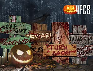 """KIDPAR 4 Pack 14"""" x 11"""" 4 Pcs Outdoor Halloween Yard Sign Decorations Beware Warning Graveyard Fence Stakes for Haunted House, Scary Theme Party"""