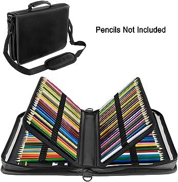 YOUSHARES Estuche 160 ranuras de color lápiz caso tela de PU gran capacidad pluma/lápiz organizador con correa para lápices de acuarela, plumas de gel (Negro): Amazon.es: Oficina y papelería