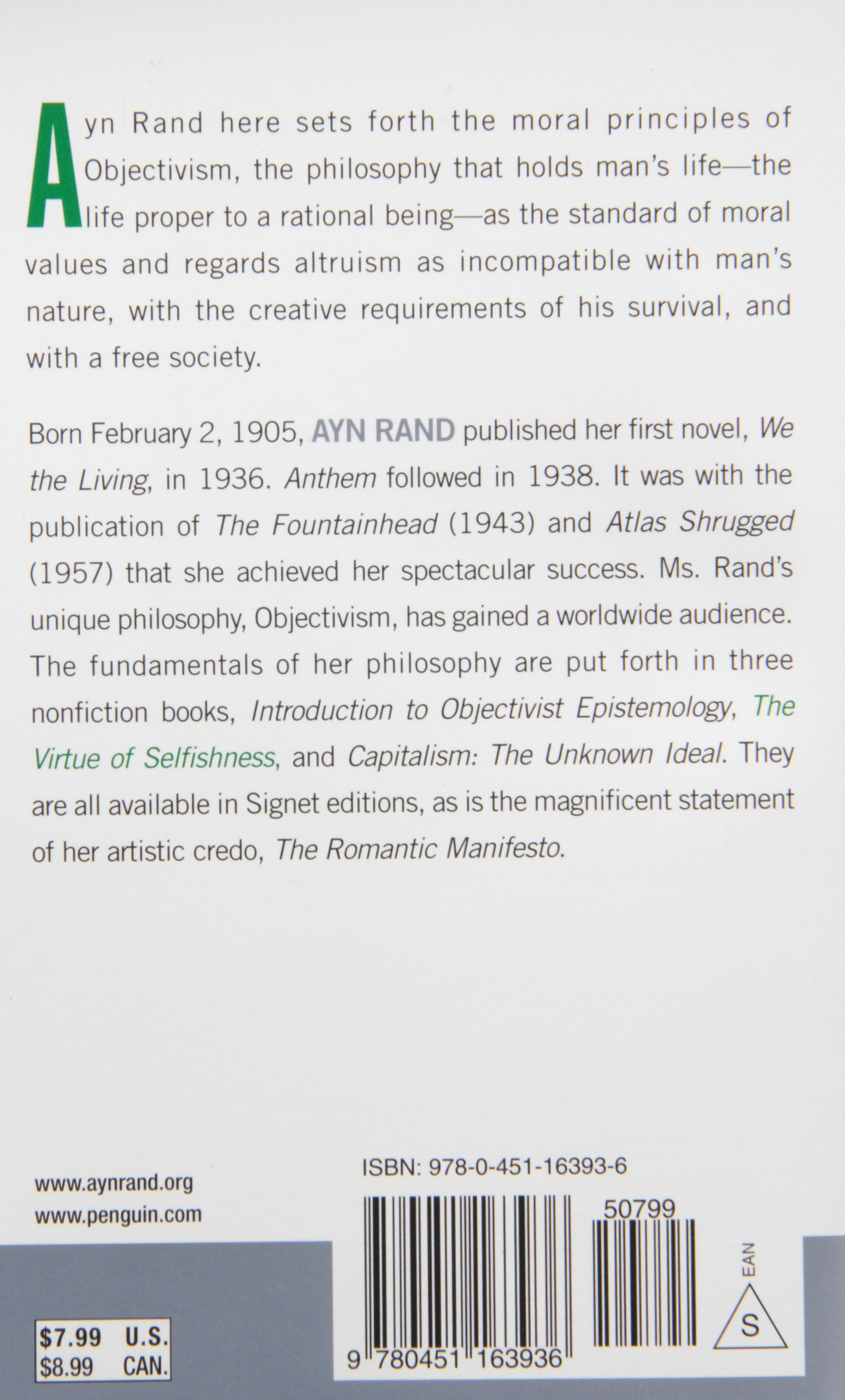 the virtue of selfishness fiftieth anniversary edition ayn rand the virtue of selfishness fiftieth anniversary edition ayn rand nathaniel branden 9780451163936 com books
