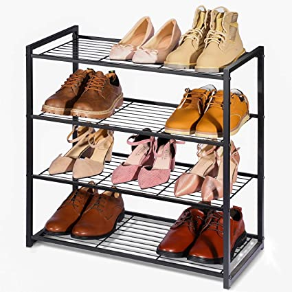 HOUSE DAY Estante de Zapatos para armarios 4 Niveles Ajustable Organizador de Zapatos DIY Estante de Zapatos Independiente 63.5 cm de Ancho Estante de ...