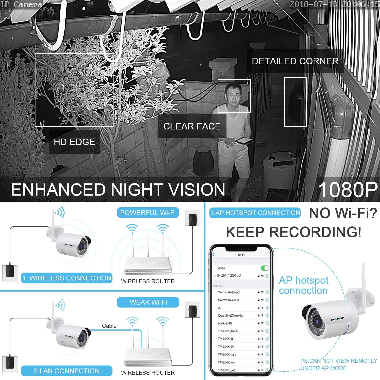 1080P WiFi IP Security Camera - GENBOLT Wireless Outdoor Waterproof Home  Surveillance Bullet Camera,Customizable Motion Detection,Loop