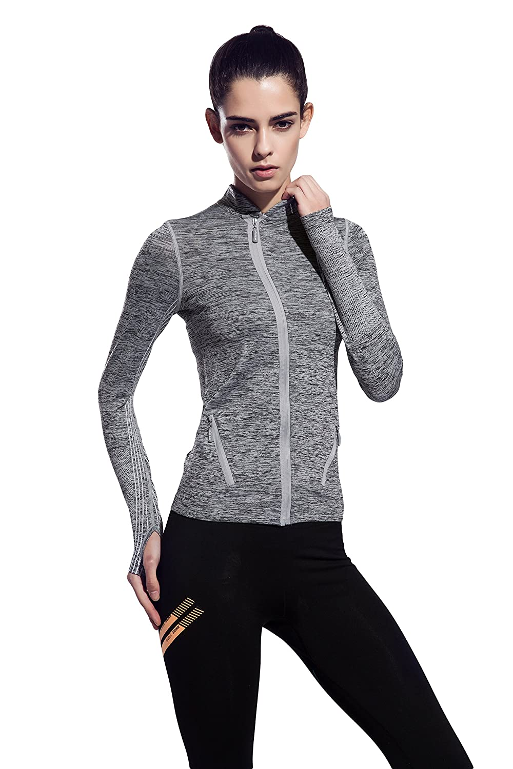 Women's Stretchy Workout Dri-Fit Hooded Jacket fy_020@us3