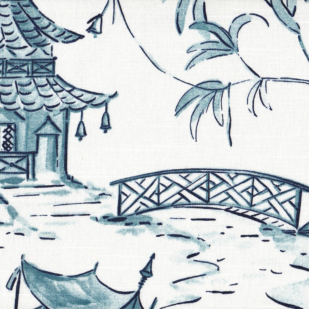 Pagodas Seaside Blue Oriental Toile 90'' Round Tablecloth Cotton