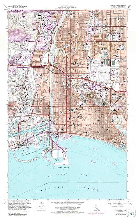 Amazon.com : YellowMaps Long Beach CA topo map, 1:24000 Scale, 7.5 X ...