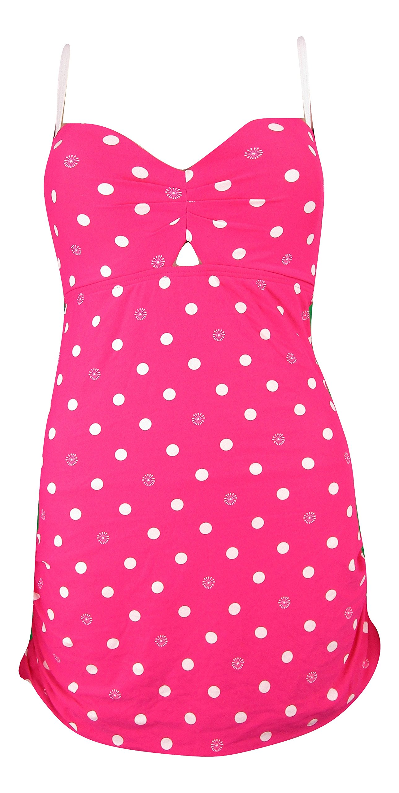 Coco Rave Polka Dot Push Up Bra Underwire Swimwear Swim Dress One Piece Ruffle Skirted 36C L, Pink by COCO RAVE