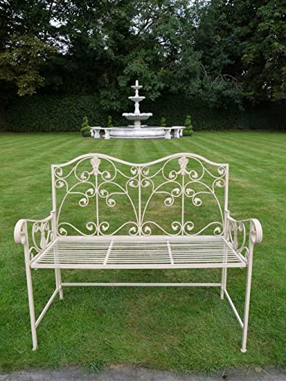 Black Country Metal Works The Stapeley Ornate Antique White Garden Bench
