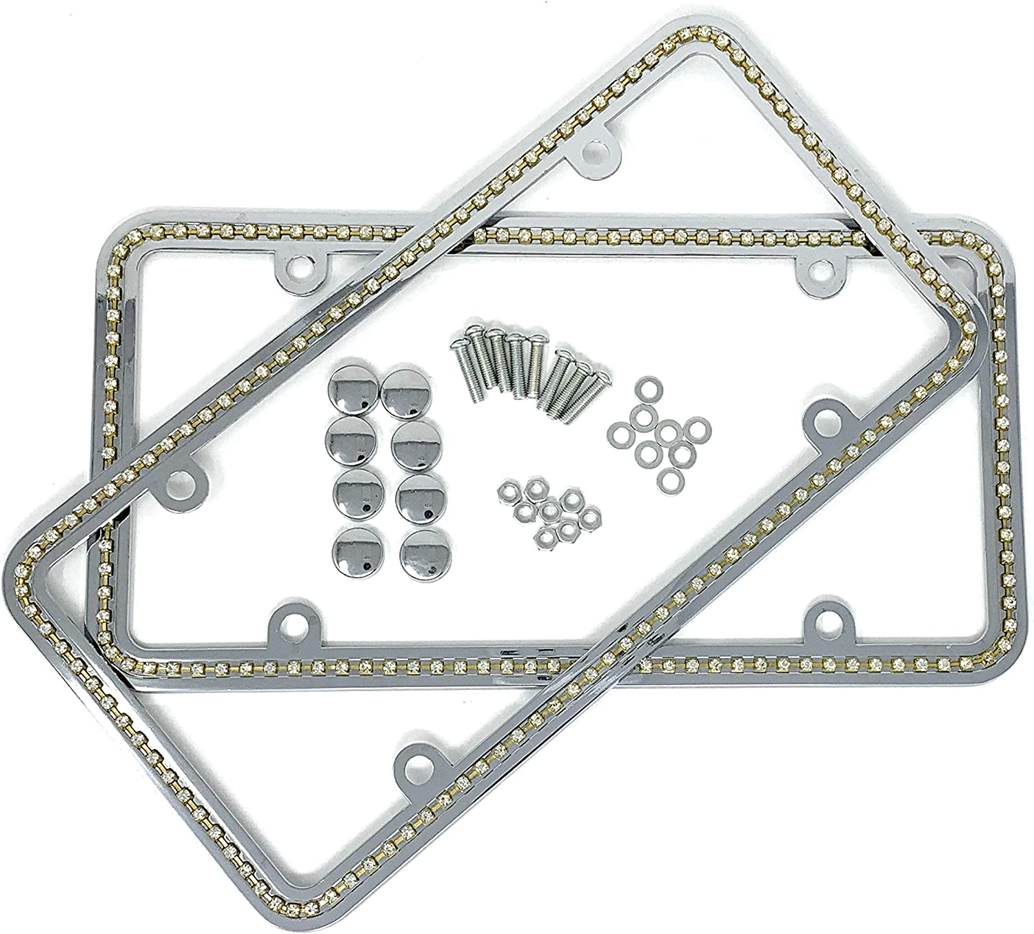 2 Stainless Steel License Plate Frames Silver Set