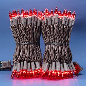 Red Incandescent Christmas Lights, 66 Ft Brown Wire 200 Mini Lights, UL Certified Holiday String Light, End to End Connectable Indoor & Outdoor Commercial Grade Lights Set (Red)