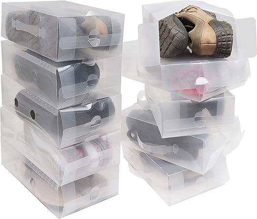 Pack 10 Cajas Guardar Zapatos Plástico Corrugado Transparente por ...