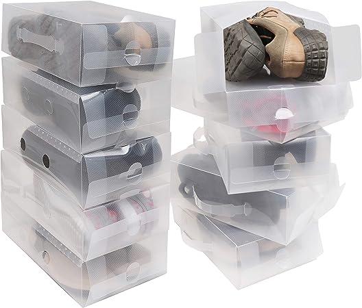 Pack 10 Cajas Guardar Zapatos Plástico Corrugado Transparente por Kurtzy - Plegables Organizador Zapatos Impermeable Cajas - Caben Zapatos Pequeños, Medianos - Ideal para Viajes: Amazon.es: Hogar