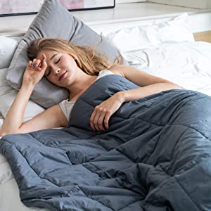 """Restwave Weighted Blanket for Adult 17 lbs, Cotton Queen Size 60""""x80"""", Great 2.0 Bed Heavy Blanket with 100% Cotton Material and Glass Beads"""