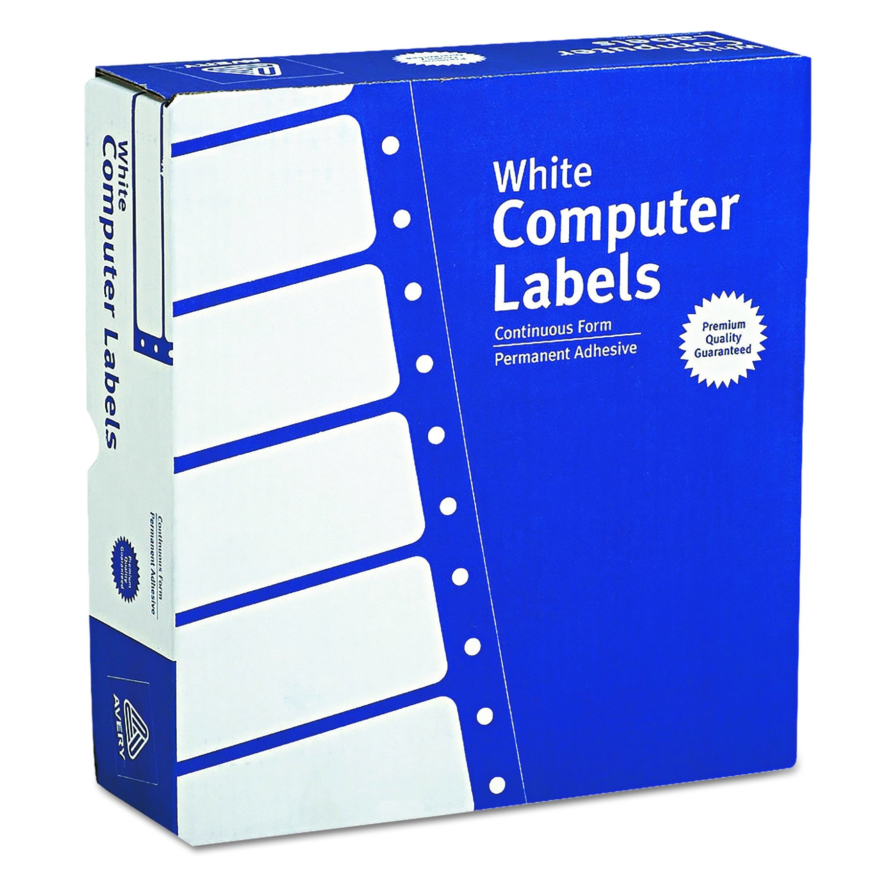 Avery Continuous Form Computer Labels for Pin-Fed Printers 3-1/2'' x 15/16'', Box of 15,000 (4031)
