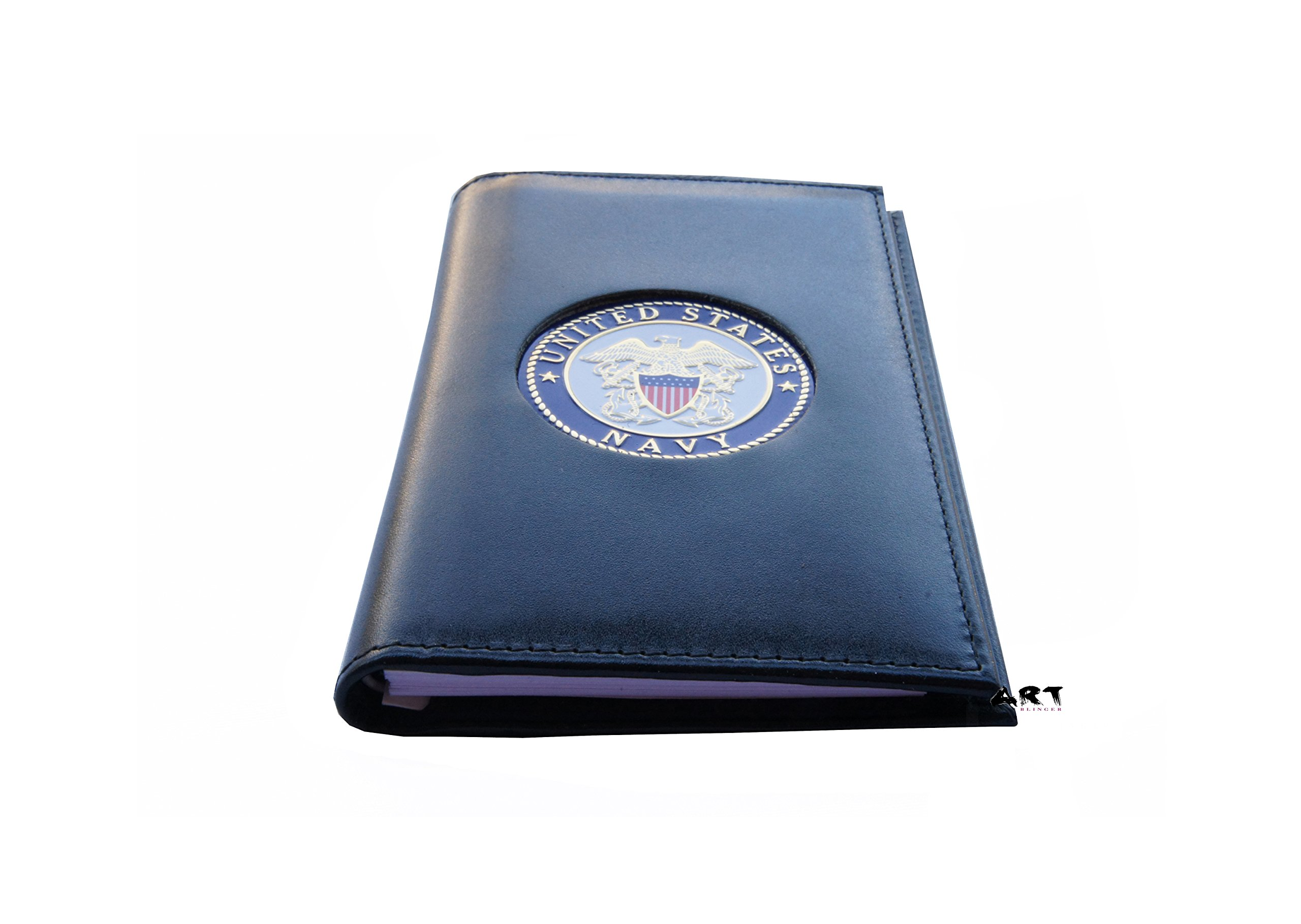 Spiral Notebook Padfolio with Medallion, Official US NAVY Note Pad Cover - 3'' x 5'' by Officially Licensed Authorized Military Wallets