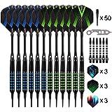 Grebarley Darts,Darts Plastic Tips,Soft Tip Darts Set,12 Pcs 18 Gram with 50 Extra Dart Tips,9 Flights, 6 shafts,Tool…